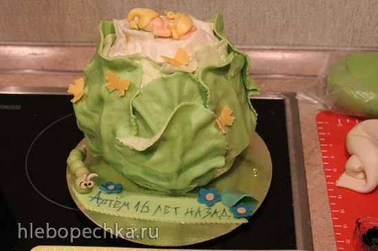 как приготовить торт из мастики в виде капусты