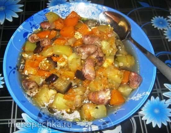 Куриные сердечки тушёные с овощами (мультиварка)