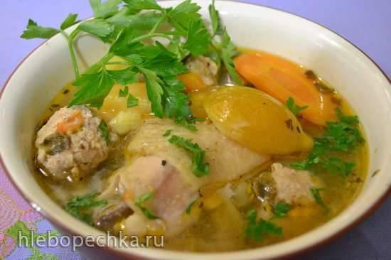 Суп куриный с фрикадельками и желтой сливой (скороварка Oursson и MP5005)