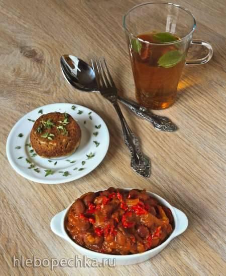 Фасоль с беконом, помидорами и паприкой (Боб с шунка, домати и червен пипер) Коптильня-скороварка Бранд 6060