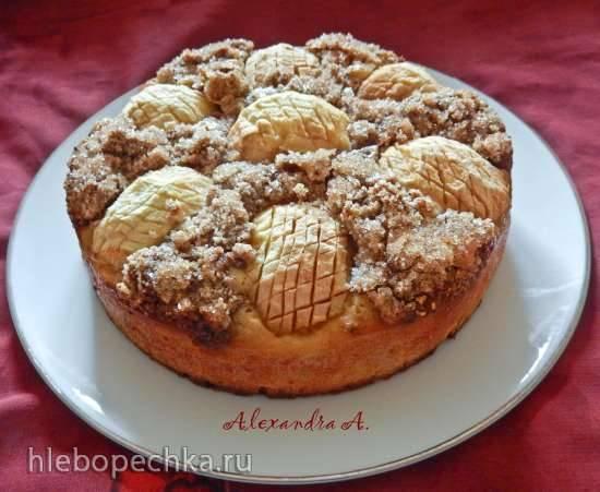 Пирог с ореховой корочкой Яблочная мозаика