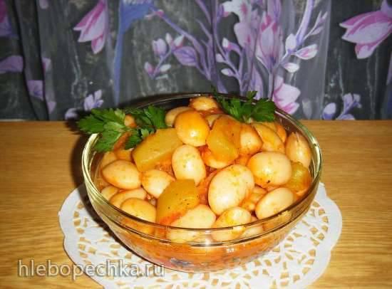 Фасоль с кабачками и томатами