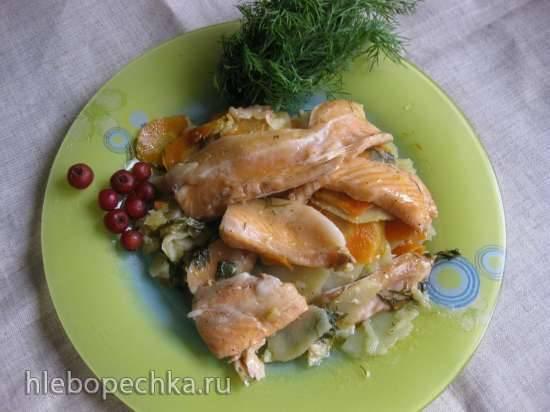 Рыба с овощами, запеченные в «рукаве» в мультиварке Redmond RMC-M70