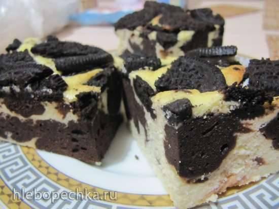 "Брауни-чизкейк с печеньем Oreo ""Черно-белый""Брауни-чизкейк с печеньем Oreo ""Черно-белый"""