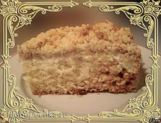 Пирог творожный с ореховым штрейзелем