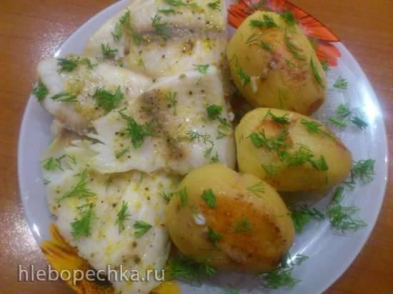 Рыбка с румяной картошкой в мультиварке Bork U700