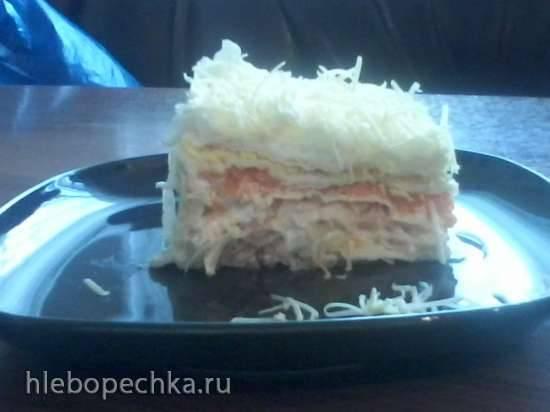 Закусочный пирог-салат Мимоза в лаваше