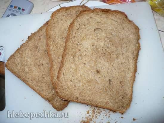 Хлеб пшеничный с цельнозерновой мукой и отрубями на йогурте