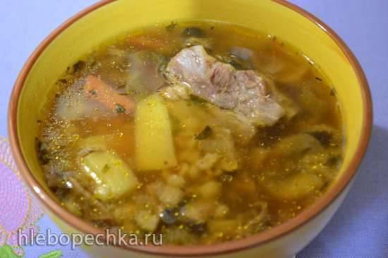 Суп перловый «два гриба» со свиной грудинкой в скороварке Oursson 4002