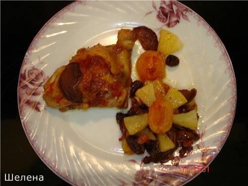 Куриные бёдрышки с сухофруктами и ананасом (мультиварка-скороварка Polaris 0305)
