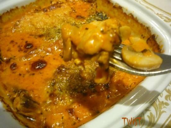 Скумбрия в пряном соусе с грибами и пармезаном