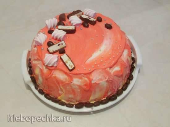 Торт «Нежность» из заварного теста с винным кремом и мандаринами