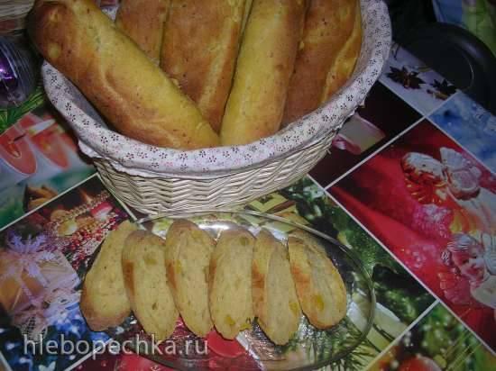 Тыквенные багеты с сыром и манго (хлебопечка Moulinex 600230)