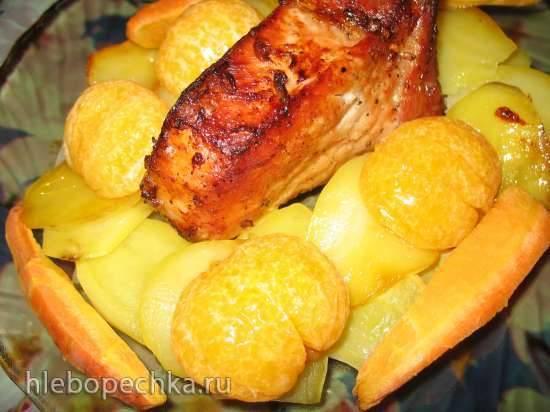 Каре из свинины с мандаринами