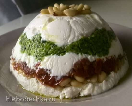 Террин из козьего сыра, соуса песто и вяленых томатов (Goat Cheese, Pesto and Sun-Dried Tomato Terrine)