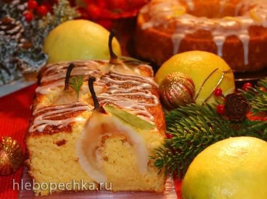 Лимонный кекс с грушами