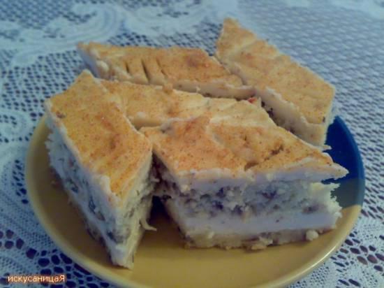 Торт грибной бисквитный