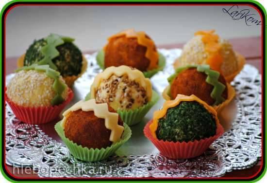 Яично-сырные шарики в лукошках