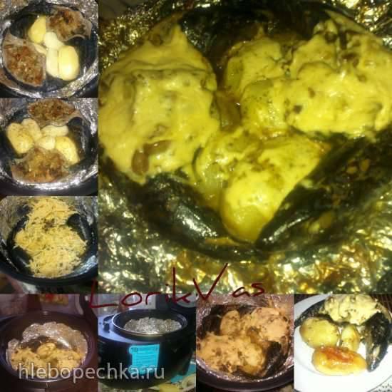 Скумбрия фаршированная грибами и сыром