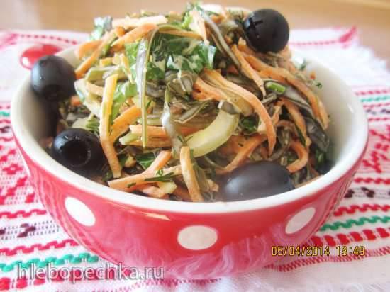 Салат по рыбацки с морской капустой