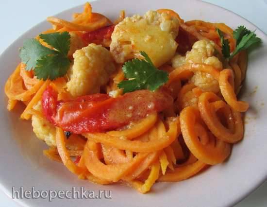 Спагетти из тыквы с овощами и сливочным соусом карри