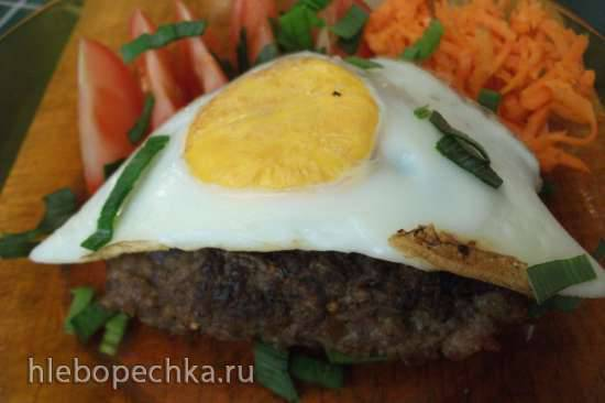 Бифштекс с яйцом в сэндвичнице (Steba)