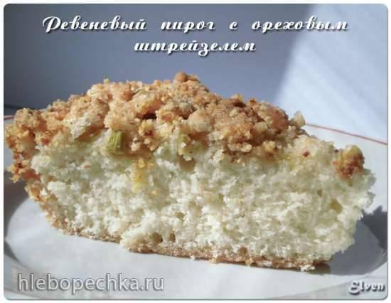 Ревеневый пирог с ореховым штрейзелем