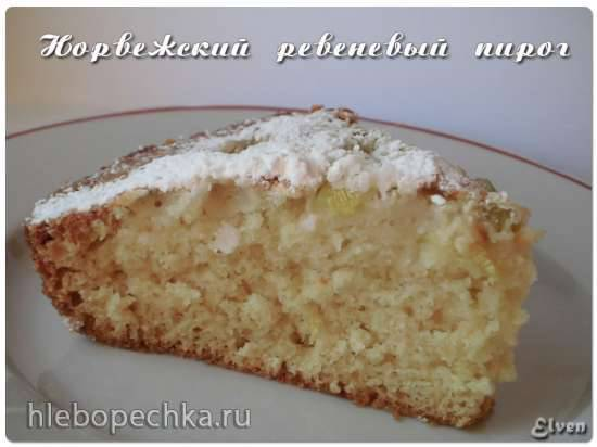 Норвежский ревеневый пирог (Rabarbrakake)