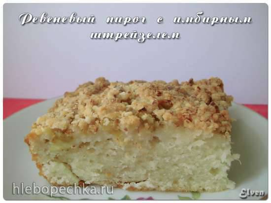 Ревеневый пирог на кефире с имбирным штрейзелем (Rhubarb Buttermilk Cake with Ginger Streusel)