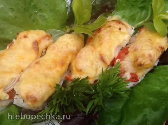 Рыба, запеченная порционно под сыром с овощами (для воскресного обеда) Рыба, запеченная порционно под сыром с овощами (для воскресного обеда)