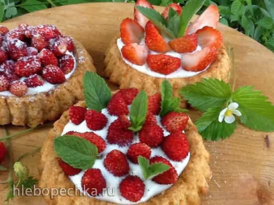 Ягодный десерт с заварным кремом Ягодные песочные корзиночки со сливочно-заварным кремом