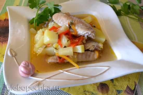 Куриный густой суп-рагу с ананасами (в пароварке)