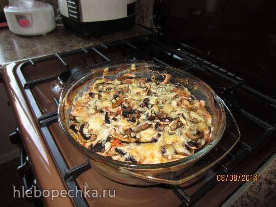 Запеканка из баклажан под сырно-грибной корочкой
