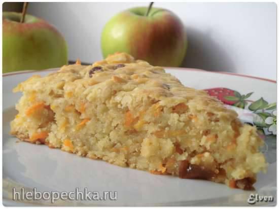Яблочно-морковный пирог (без яиц)