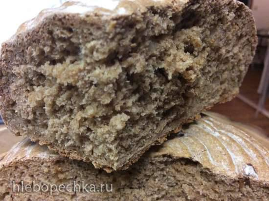 Пшенично-ржаной хлеб на темном пиве с луком