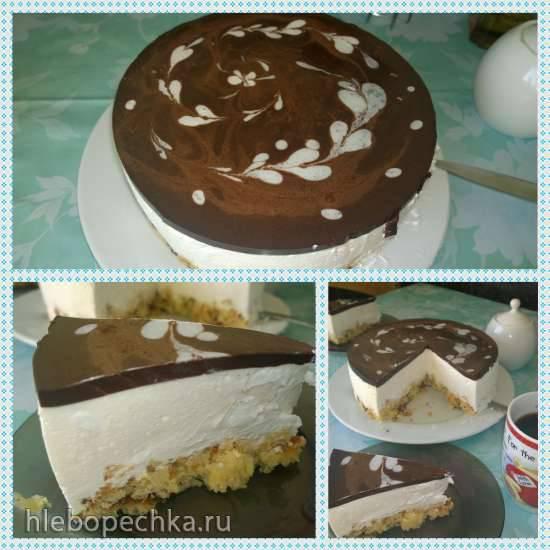 Торт Птичье молоко с бисквитом и миндальными хлопьями