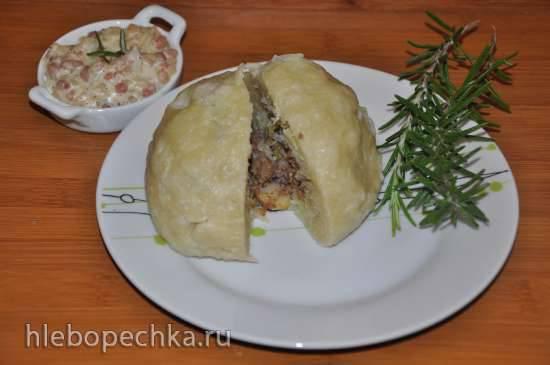 Фаршированные клецки со сливочно-беконным соусом