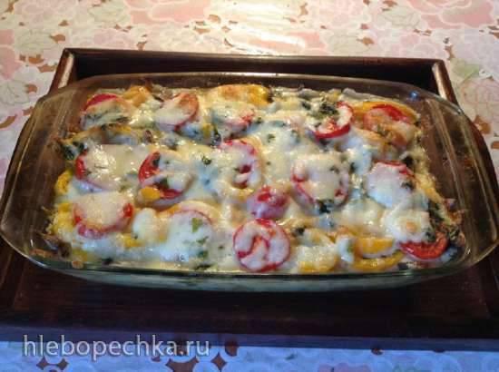 Запеченный картофель (Auflauf) с мюнхенскими колбасками и овощами