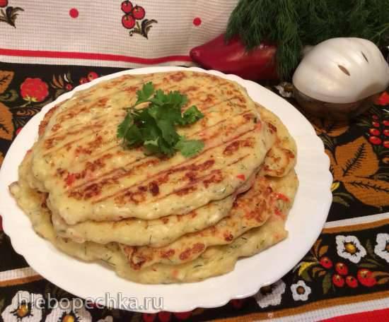 Лепешки с брынзой, зеленью, болгарским перцем и чесноком (гриль Мидеа)