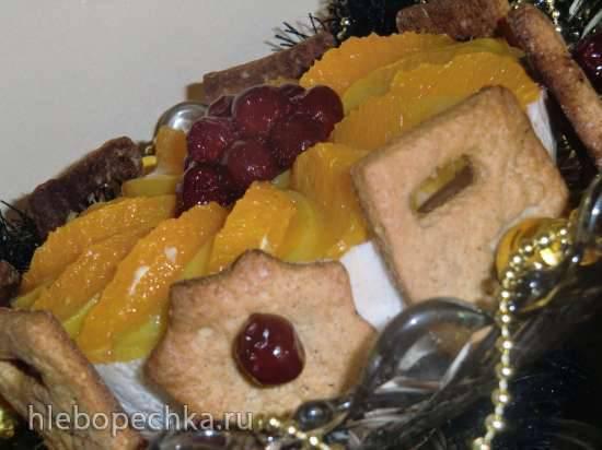 Пряный рождественский торт с рождественским печеньем (Weihnachtstorte mit spekulatius und lebkuchengewuerz)