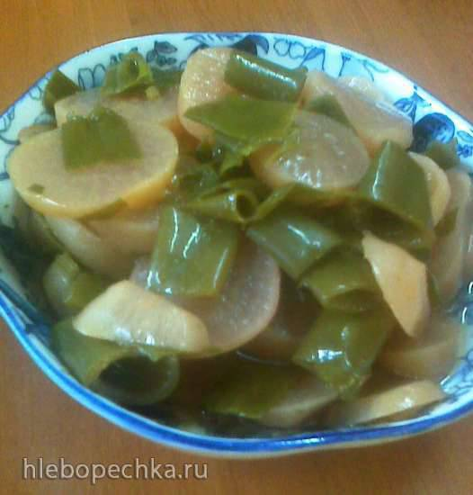 Салат овощной с ботвой редиса Салат из редиски с зелёным луком на зиму