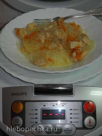 Фунчоза, тушёная с куриным филе (мультиварка Philips HD 3036)