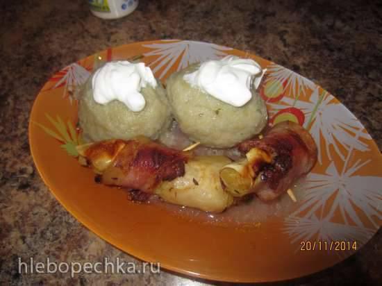 Рулетики с картофельной начинкой в беконе