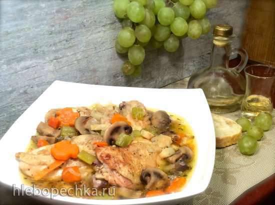 "Цыпленок в ""Рислинге"" (белом вине) по-баденски Haehnchen in Risling (мультиварка-скороварка Steba)"