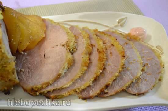 Грудинка свиная варено-запеченная рулетом