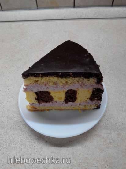 Торт шоколадно-цитрусовый с клубничным муссом