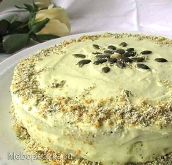 Торт с тыквенными семечками и абрикосовым джемом (Kuerbiskern-Marillentorte)