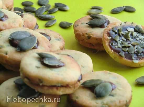 Песочное печенье с марципаном и тыквенными семечками (Kurbiskernkekse)