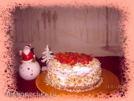 Бисквитный медовый торт Пирог (торт) из киселя с фруктовой начинкой и сливками