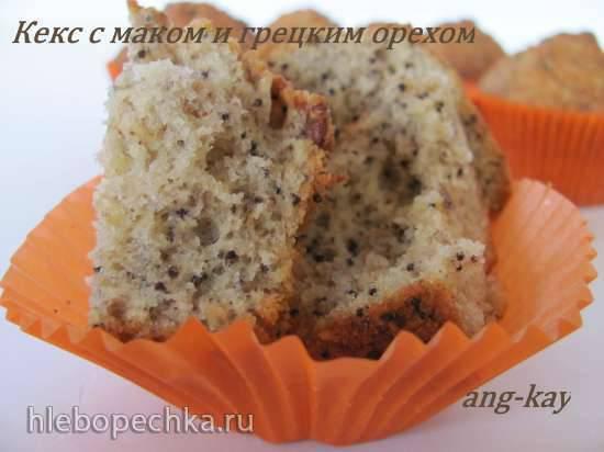 Кекс с маком и грецким орехом